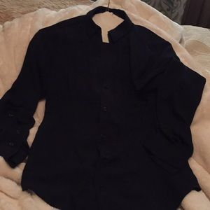 🔥Navy Blue Sheer Long sleeve Blouse The Limited